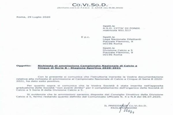 Città di Fondi: la Co.Vi.So.D dà parere positivo alla richiesta di ripescaggio, per i rossoblu la Serie B è più vicina